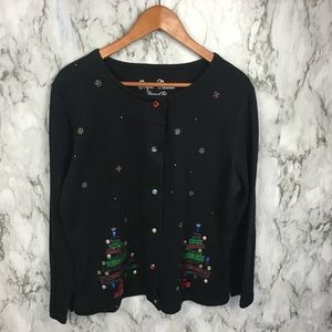 Vintage 80s Ugly Christmas Tree Sweater Cardigan